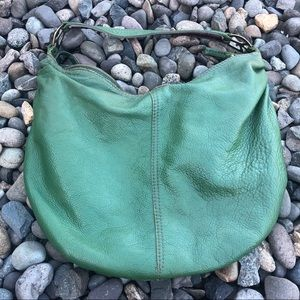 Lucky Brand leather peace sign strap holder green